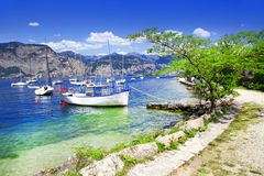Lago di加尔达风景  免版税库存照片