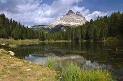 Lago di Antorno mit Tre CIME, Dolomit Italien Stockbilder