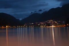 Lago di Auronzo at dusk Royalty Free Stock Images