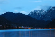 Lago di Auronzo at dusk Stock Photography