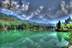 Lago Di Barcis (Barcis Lake). A gorgeous lake in the Dolomite Mountains in Italy Stock Images
