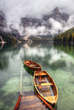 Lago di Braies,意大利 库存照片