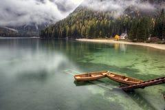 Lago di Braies, Италия Стоковые Фото