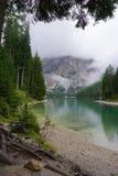 Lago di Braies Fotografía de archivo libre de regalías