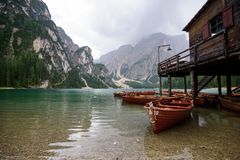 Lago di Braies Stockbilder