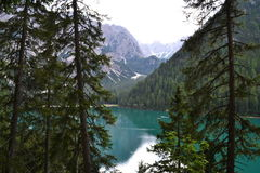 Lago di Braies Photo libre de droits