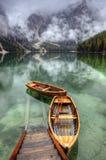 Lago di Braies,意大利 免版税库存照片