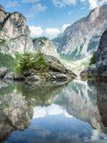 Lago Di Braies Stock Foto