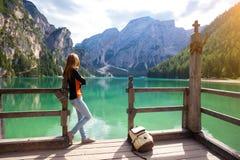 Lago di Braies Immagine Stock