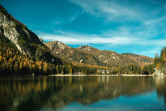 Lago Di Braies Stock Afbeelding