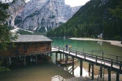 Lago di Braies Imagenes de archivo