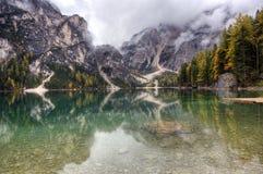 Lago di Braies, Itália Imagem de Stock Royalty Free