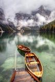 Lago di Braies, Italia Fotografie Stock