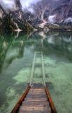 Lago di Braies, Italien Arkivbilder