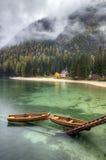 Lago di Braies, Italien Stockbilder