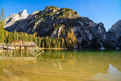 Lago di Braies oder Pragser Wildsee in italian Alps Stock Image
