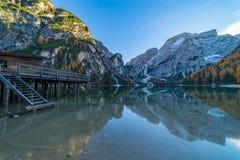 Lago di Braies oder Pragser Wildsee in italian Alps Royalty Free Stock Photo