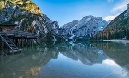 Lago di Braies oder Pragser Wildsee in italian Alps Royalty Free Stock Images