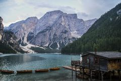 Lago Di Braies or Pragser Wildsee, Dolomites, Italy Royalty Free Stock Images