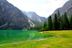 Lago di Braies  Pragser Wildsee  in Dolomites mountains Stock Photos