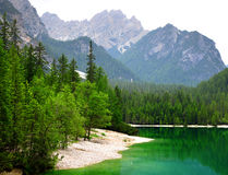 Lago di Braies  Pragser Wildsee  in Dolomites mountains Royalty Free Stock Photography
