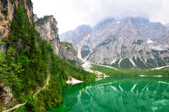 Lago di Braies  Pragser Wildsee  in Dolomites mountains Royalty Free Stock Photo