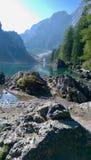 Lago di Braies - Pragser Wildsee. Rocks at the Lago di Braies Royalty Free Stock Image