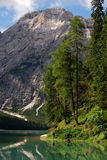 Lago Di Braies - Pragser Wildsee, Zuid-Tirol, Dolomiet Stock Fotografie