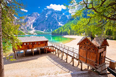 Lago di Braies turquoise water and Dolomites Alps view Stock Images