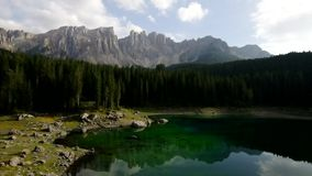 Lago di Carezza stock video footage