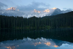 Lago di Carezza early morning Royalty Free Stock Image