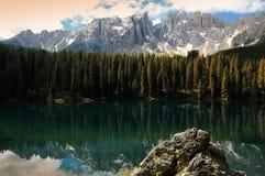 Lago di Carezza Karersee, a Beautiful Lake in the Dolomites, Trentino Alto Adige Stock Photography