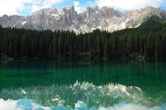 Lago di Carezza Karersee, a Beautiful Lake in the Dolomites, Trentino Alto Adige. Italy stock image