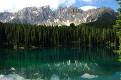 Lago di Carezza Karersee, a Beautiful Lake in the Dolomites, Trentino Alto Adige. Italy stock photo