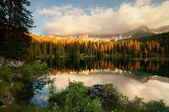 Lago di Carezza at sunset Stock Photography