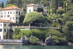 Villa del Balbianello at Lake Como. Lago di Como, also known as Lario in West Lombardy, is a lake of glacial origin in Lombardy, Italy royalty free stock photography