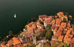 Lago di Como coastline. Lago di Como coastline town, aerial view Royalty Free Stock Photos