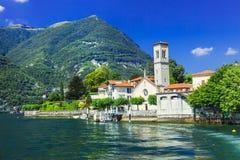 Lago di Como - panorama de Torno Image stock