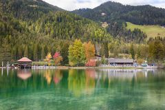 LAGO DI DOBBIACO, SOUTH TYROL / ITALY, OCTOBER 05 2014 - Autumn at Lago Di Dobbiaco in Dolomites Royalty Free Stock Photography
