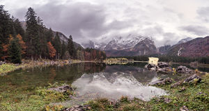 Lago Di Fusine - Mangart Lake in the autumn or winter. Royalty Free Stock Images