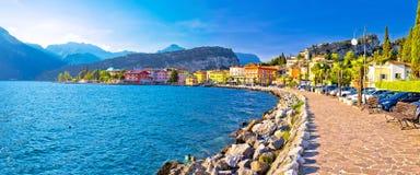 Lago di Garba town of Torbole panoramic view Stock Images