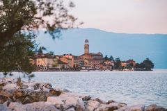 Lake Garda overlooking the town of Salo. Italy Stock Images