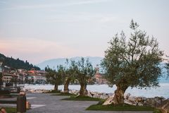 Lake Garda overlooking the town of Salo. Italy Royalty Free Stock Photos