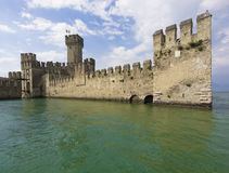 Lago Di Garda. Entrance and bridge on landmark medieval castle Scaliger in old town Sirmione on lake Lago di Garda, northern Italy in Europe Stock Images