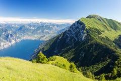 Lago di Garda lake from mountain Monte Baldo Stock Image