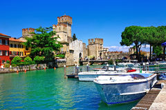 Lago di Garda - pictorial view with Rocca Scaligera in Sirmione. Italy royalty free stock photography