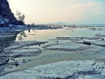 Lago di garda shore. Rocky shore of lago di garda lake in italy Stock Images