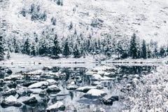 Lago di inverno della montagna con la riflessione delle rocce nella superficie dell'acqua Fotografie Stock