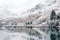 Lago di inverno della montagna con la riflessione delle rocce nella superficie dell'acqua Immagini Stock
