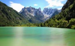 Lago di Landro in cloudy autumn day. Italy Royalty Free Stock Photo